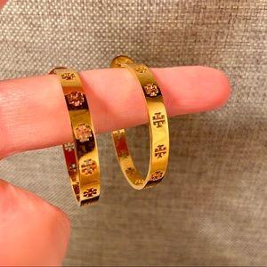NWT Tory Burch T-Hoop Earrings, Gold